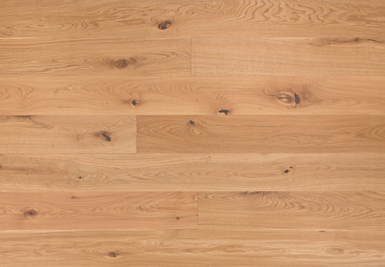 Massivholzdiele Wildeiche wellengehobelt leicht weiß pigmentiert geölt - 90102
