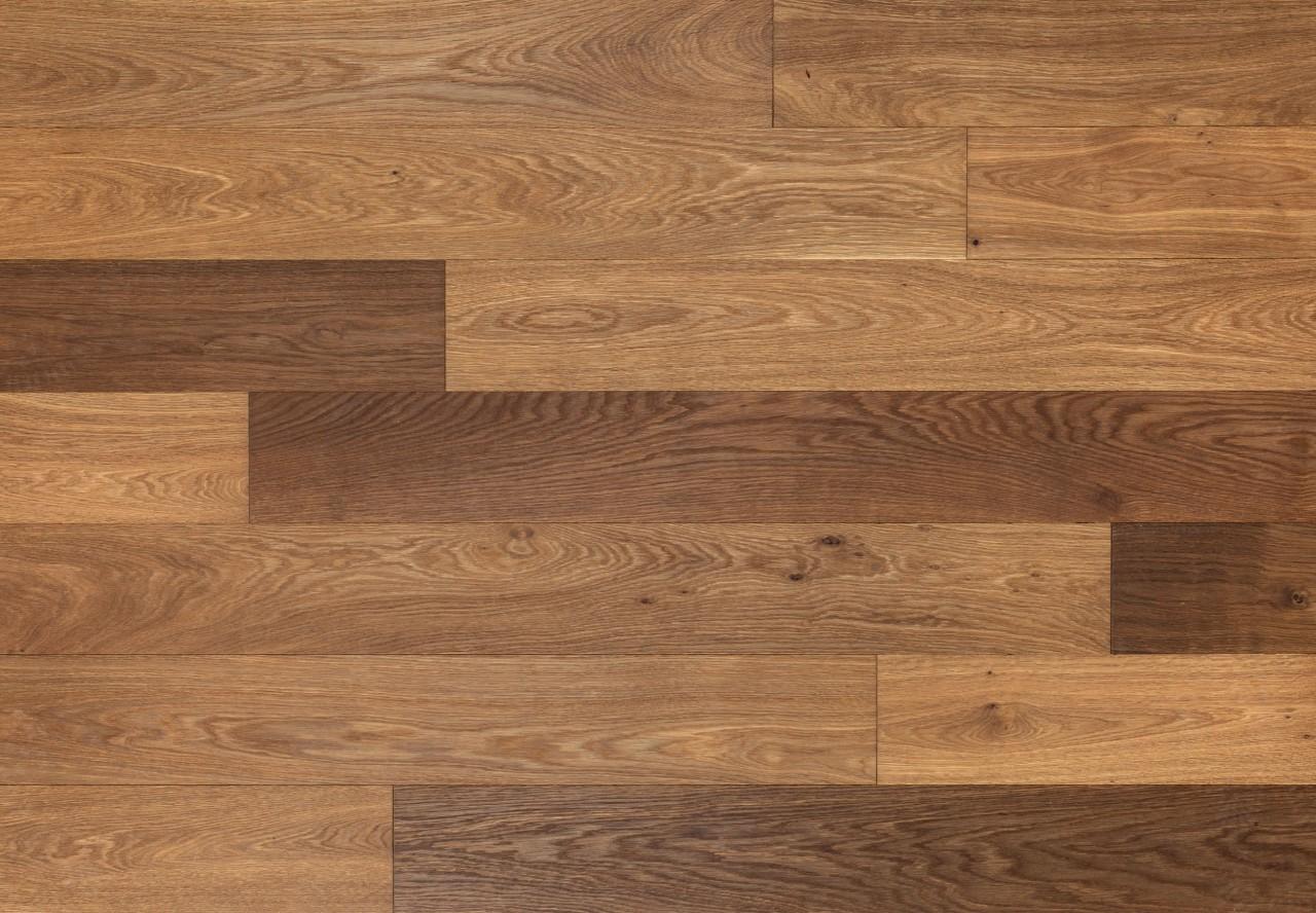 Massivholzdiele Natureiche gebürstet angeräuchert leicht weiß geölt - 90039
