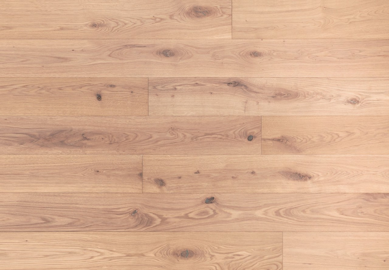 Massivholzdiele Wildeiche gebürstet weiß geölt - 90011