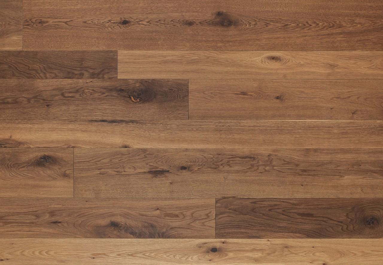 Massivholzdiele Wildeiche wellengehobelt angeräuchert leicht weiß geölt - 90120