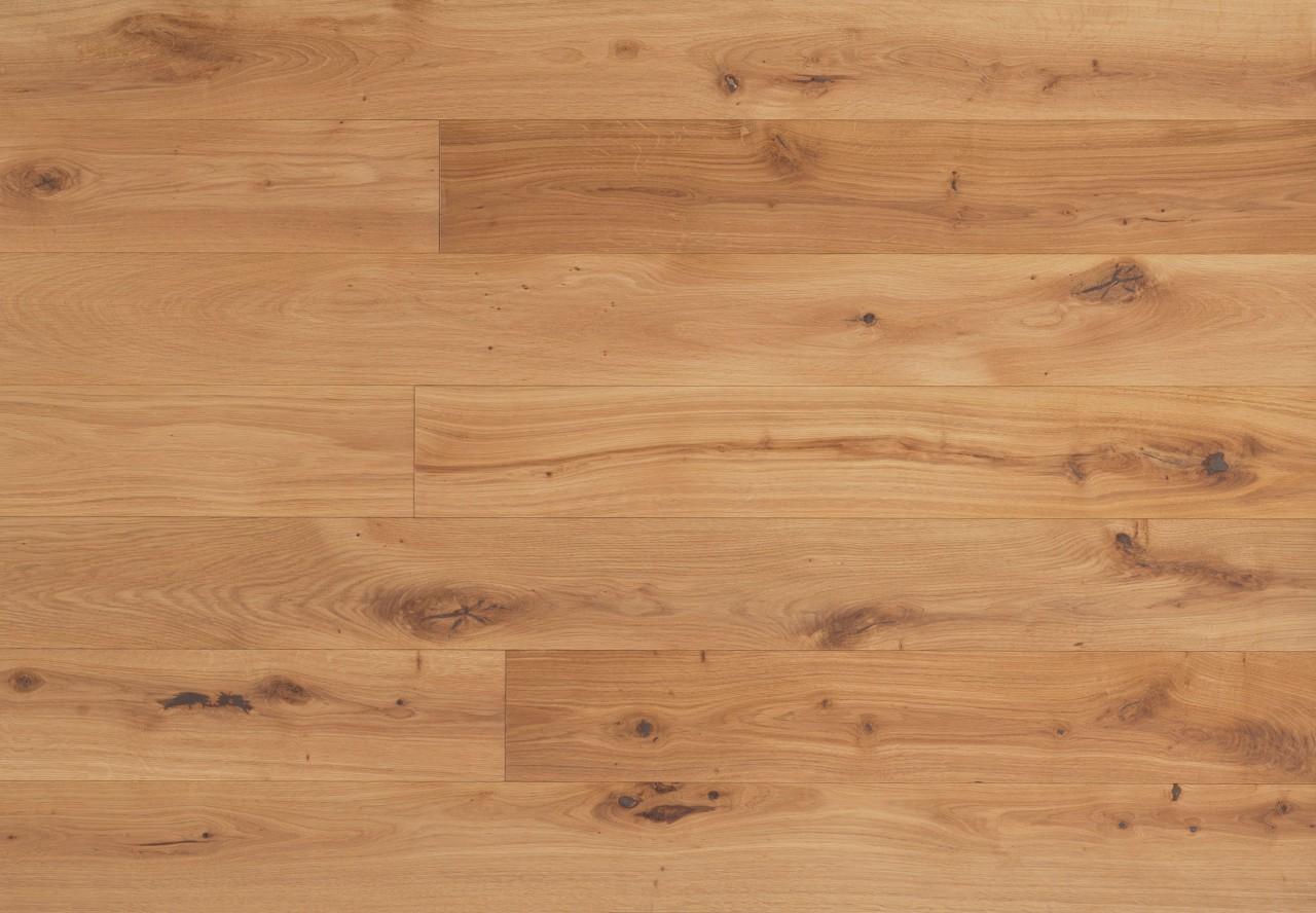 Massivholzdiele Wildeiche gebürstet leicht weiß pigmentiert geölt - 90033