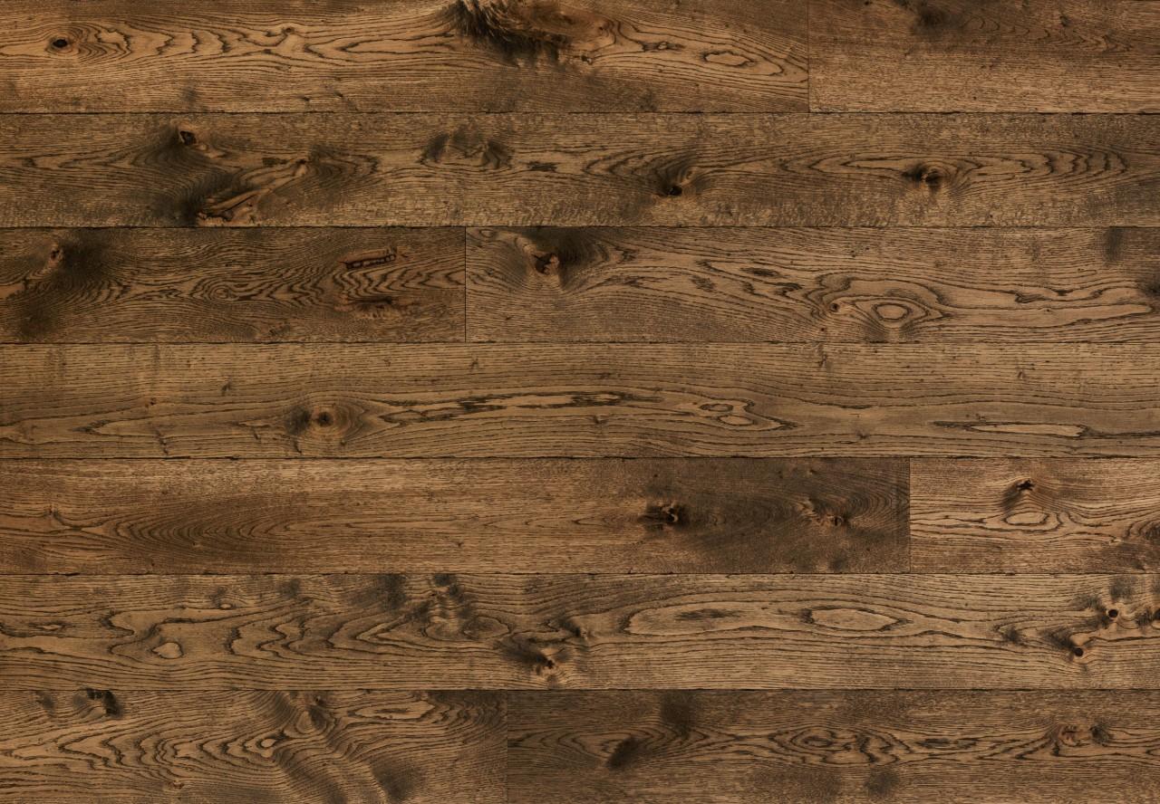 Massivholzdiele Wildeiche glatt maschinengehobelt ungekittet gealtert angeräuchert antikbraun geölt - 90055